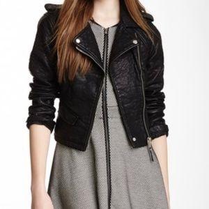 Blanc noir pebble faux leather jacket